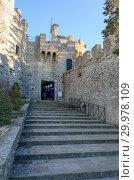 Купить «San-Marino, January 02, 2019: Rocca Cesta or Second Tower in San Marino», фото № 29978109, снято 2 января 2019 г. (c) Григорий Стоякин / Фотобанк Лори