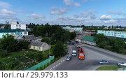 Купить «Gryazi, Russia - July 3.2017. rise above city center and railway station», видеоролик № 29979133, снято 25 мая 2019 г. (c) Володина Ольга / Фотобанк Лори