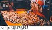 Купить «sausage meat production», фото № 29979985, снято 7 февраля 2019 г. (c) Mark Agnor / Фотобанк Лори
