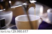 Купить «Barista making coffee. An espresso pouring in white cup», видеоролик № 29980617, снято 18 февраля 2019 г. (c) Константин Шишкин / Фотобанк Лори
