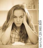 Купить «girl in trouble with handkerchief», фото № 29980809, снято 20 марта 2019 г. (c) Яков Филимонов / Фотобанк Лори