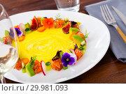 Купить «Fresh trout tartare formed as wreath with vegetables, fruits, flowers», фото № 29981093, снято 15 ноября 2019 г. (c) Яков Филимонов / Фотобанк Лори