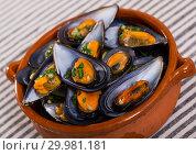 Купить «Baked mussels in clay pot», фото № 29981181, снято 25 июня 2018 г. (c) Яков Филимонов / Фотобанк Лори