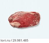 Купить «Natural raw beef flank steak isolated on white background, copy space with shadows.», фото № 29981485, снято 24 января 2019 г. (c) Ярослав Данильченко / Фотобанк Лори