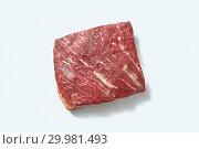 Купить «Fresh organic raw meat for roasting with shadows on a white background, copy space. Flat lay», фото № 29981493, снято 21 января 2019 г. (c) Ярослав Данильченко / Фотобанк Лори
