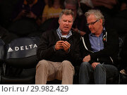 Купить «Celebrities seen at the Lakers game. The Golden State Warriors defeated the Los Angeles Lakers by the final score of 127-123 in overtime at Staples Center...», фото № 29982429, снято 30 ноября 2017 г. (c) age Fotostock / Фотобанк Лори