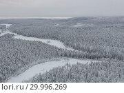Купить «Amazing Wild Olanga River In Frozen Forest. Really Snowly Winter On The North. Aerial,  Paanajärvi, Karelia, Russia», фото № 29996269, снято 9 февраля 2019 г. (c) Кирилл Трифонов / Фотобанк Лори