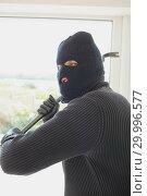 Купить «Robber holding a crowbar in his hands», фото № 29996577, снято 29 июня 2012 г. (c) Wavebreak Media / Фотобанк Лори