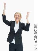 Купить «Cheerful woman raising her hands», фото № 29997381, снято 18 июля 2012 г. (c) Wavebreak Media / Фотобанк Лори