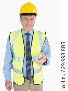 Купить «Man in helmet and vest holding a plan», фото № 29998885, снято 31 июля 2012 г. (c) Wavebreak Media / Фотобанк Лори