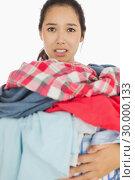 Купить «Woman overwhelmed with amount of dirty laundry», фото № 30000133, снято 8 августа 2012 г. (c) Wavebreak Media / Фотобанк Лори