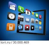 Applications coming out from digital tablet . Стоковое фото, агентство Wavebreak Media / Фотобанк Лори