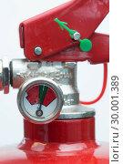Купить «Close up of top of fire extinguisher», фото № 30001389, снято 18 марта 2012 г. (c) Wavebreak Media / Фотобанк Лори