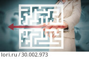 Купить «Businesswoman tracing red arrow through qr code », фото № 30002973, снято 26 июня 2013 г. (c) Wavebreak Media / Фотобанк Лори