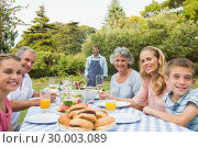 Happy extended family waiting for barbecue being cooked by father. Стоковое фото, агентство Wavebreak Media / Фотобанк Лори