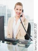 Купить «Cheerful pretty businesswoman answering the phone», фото № 30007737, снято 12 июня 2013 г. (c) Wavebreak Media / Фотобанк Лори