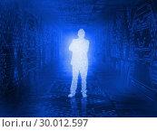 Купить «Glowing silhouette of businessman in circuit board», фото № 30012597, снято 19 августа 2013 г. (c) Wavebreak Media / Фотобанк Лори