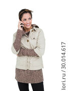 Купить «Happy cute brunette in winter fashion phoning», фото № 30014617, снято 21 июня 2013 г. (c) Wavebreak Media / Фотобанк Лори