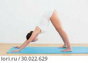 Купить «Side view of a woman exercising on mat», фото № 30022629, снято 12 июля 2013 г. (c) Wavebreak Media / Фотобанк Лори