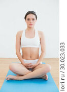 Купить «Toned woman sitting in yoga posture on exercise mat», фото № 30023033, снято 16 июля 2013 г. (c) Wavebreak Media / Фотобанк Лори