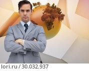 Купить «Composite image of young businessman looking at camera», фото № 30032937, снято 2 ноября 2013 г. (c) Wavebreak Media / Фотобанк Лори
