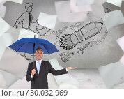 Купить «Composite image of peaceful businessman holding blue umbrella», фото № 30032969, снято 2 ноября 2013 г. (c) Wavebreak Media / Фотобанк Лори