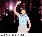 Купить «Composite image of furious classy businesswoman throwing her calculator», фото № 30032981, снято 2 ноября 2013 г. (c) Wavebreak Media / Фотобанк Лори
