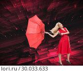 Купить «Composite image of elegant blonde holding umbrella», фото № 30033633, снято 2 ноября 2013 г. (c) Wavebreak Media / Фотобанк Лори