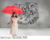 Купить «Composite image of happy businesswoman holding umbrella», фото № 30034705, снято 2 ноября 2013 г. (c) Wavebreak Media / Фотобанк Лори