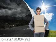 Купить «Composite image of smiling businesswoman carrying cardboard boxes», фото № 30034993, снято 2 ноября 2013 г. (c) Wavebreak Media / Фотобанк Лори