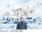 Купить «Composite image of businessman standing», фото № 30036205, снято 9 ноября 2013 г. (c) Wavebreak Media / Фотобанк Лори