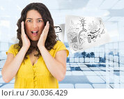 Купить «Composite image of disgusted casual young woman posing», фото № 30036429, снято 9 ноября 2013 г. (c) Wavebreak Media / Фотобанк Лори