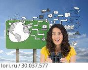 Купить «Composite image of smiling casual young woman holding binoculars», фото № 30037577, снято 9 ноября 2013 г. (c) Wavebreak Media / Фотобанк Лори