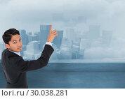 Купить «Composite image of stern asian businessman pointing», фото № 30038281, снято 10 ноября 2013 г. (c) Wavebreak Media / Фотобанк Лори
