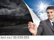 Купить «Composite image of young businessman writing something», фото № 30039093, снято 10 ноября 2013 г. (c) Wavebreak Media / Фотобанк Лори