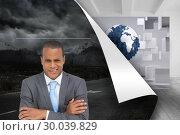 Купить «Composite image of doubtful young businessman with arms crossed», фото № 30039829, снято 10 ноября 2013 г. (c) Wavebreak Media / Фотобанк Лори