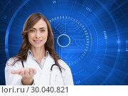 Купить «Composite image of portrait of female nurse holding out open palm», фото № 30040821, снято 10 ноября 2013 г. (c) Wavebreak Media / Фотобанк Лори