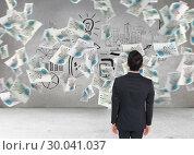 Купить «Composite image of businessman turning his back to camera», фото № 30041037, снято 10 ноября 2013 г. (c) Wavebreak Media / Фотобанк Лори