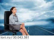 Купить «Composite image of portrait of a serious businesswoman sitting on an armchair», фото № 30043381, снято 11 ноября 2013 г. (c) Wavebreak Media / Фотобанк Лори