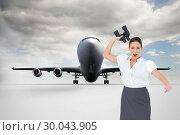 Купить «Composite image of angry businesswoman throwing binoculars away», фото № 30043905, снято 11 ноября 2013 г. (c) Wavebreak Media / Фотобанк Лори