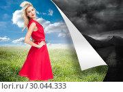 Купить «Composite image of happy blonde posing», фото № 30044333, снято 11 ноября 2013 г. (c) Wavebreak Media / Фотобанк Лори