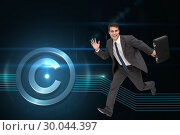 Купить «Composite image of smiling businessman in a hury», фото № 30044397, снято 11 ноября 2013 г. (c) Wavebreak Media / Фотобанк Лори