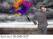 Купить «Composite image of young businessman standing back to camera scratching his head», фото № 30045537, снято 11 ноября 2013 г. (c) Wavebreak Media / Фотобанк Лори