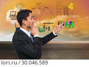 Купить «Composite image of thoughtful asian businessman pointing», фото № 30046589, снято 11 ноября 2013 г. (c) Wavebreak Media / Фотобанк Лори