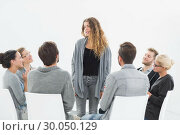 Купить «Group therapy in session sitting in a circle», фото № 30050129, снято 4 ноября 2013 г. (c) Wavebreak Media / Фотобанк Лори