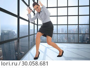 Купить «Composite image of furious businesswoman gesturing», фото № 30058681, снято 11 декабря 2013 г. (c) Wavebreak Media / Фотобанк Лори