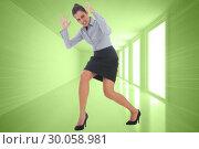 Купить «Composite image of furious businesswoman gesturing», фото № 30058981, снято 11 декабря 2013 г. (c) Wavebreak Media / Фотобанк Лори