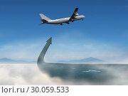 Composite image of flying airplane. Стоковое фото, агентство Wavebreak Media / Фотобанк Лори