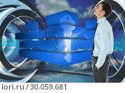 Купить «Composite image of serious businessman standing with hand in pocket», фото № 30059681, снято 10 января 2014 г. (c) Wavebreak Media / Фотобанк Лори