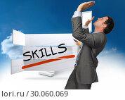 Купить «Composite image of businessman standing with arms pressing up», фото № 30060069, снято 10 января 2014 г. (c) Wavebreak Media / Фотобанк Лори